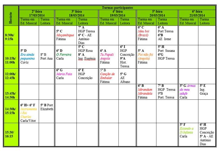 calendario semana leitura